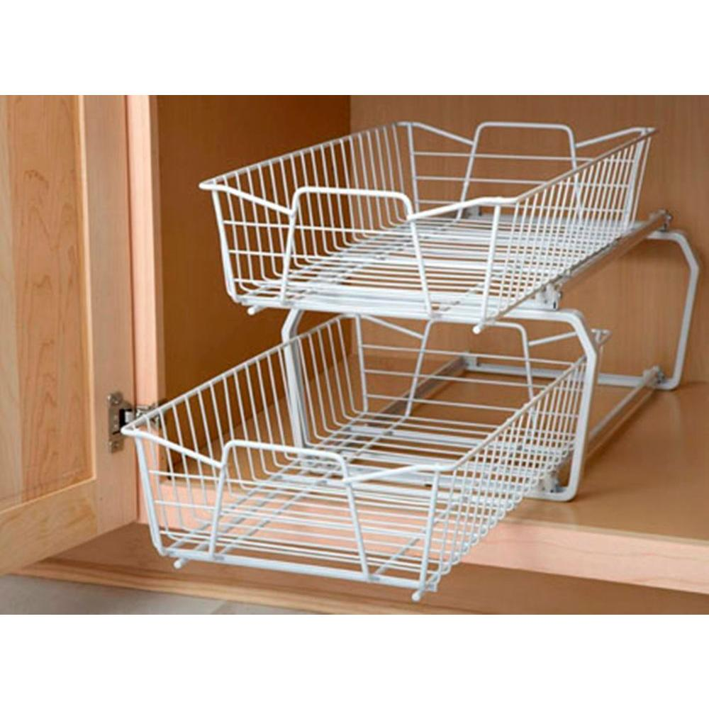 ClosetMaid 12.11 in. W 2-Tier Ventilated Wire Sliding Cabinet Organizer in  White