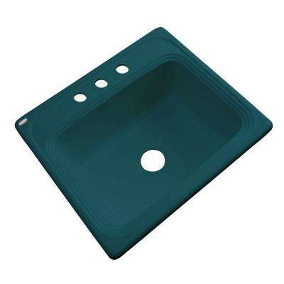 Wellington Drop-in Acrylic 25x22x9 in. 3-Hole Single Bowl Kitchen Sink in Teal