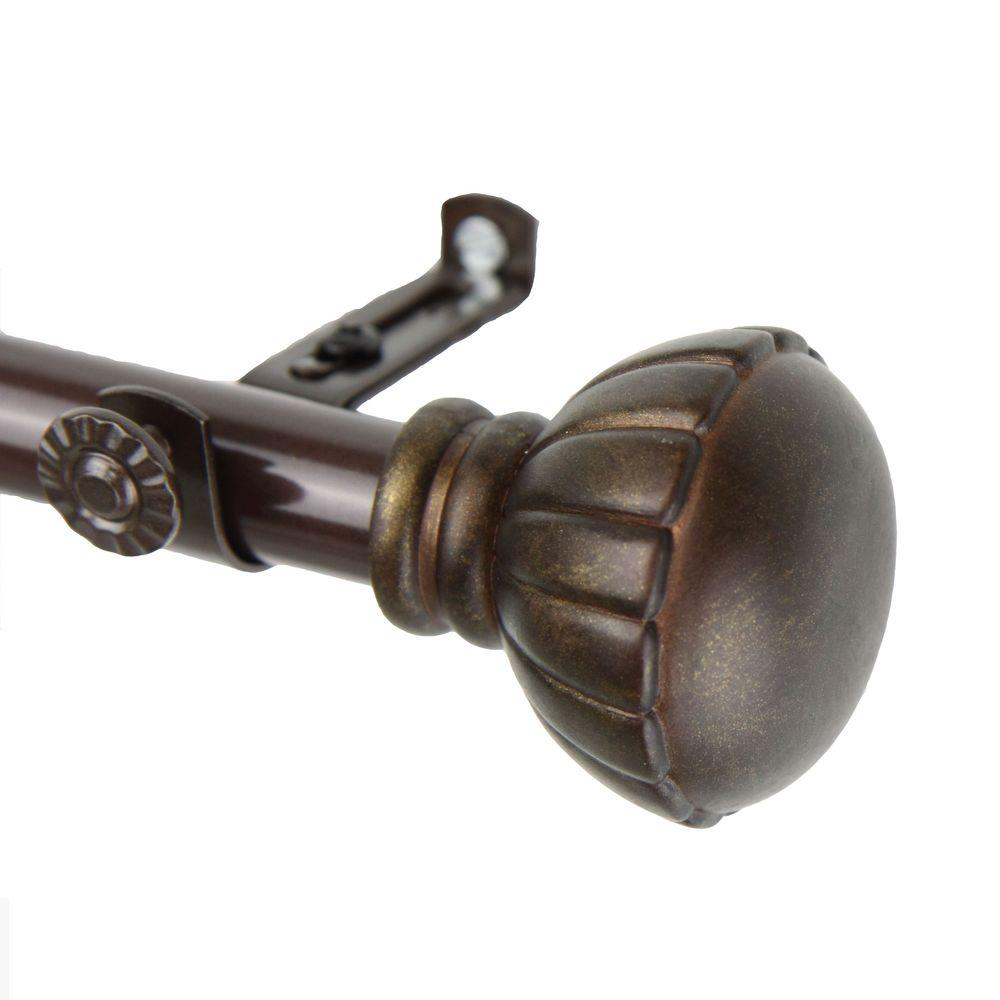 Rod Desyne 120 in. - 170 in. Telescoping Single Curtain Rod Kit in Cocoa with Magnolia Finial