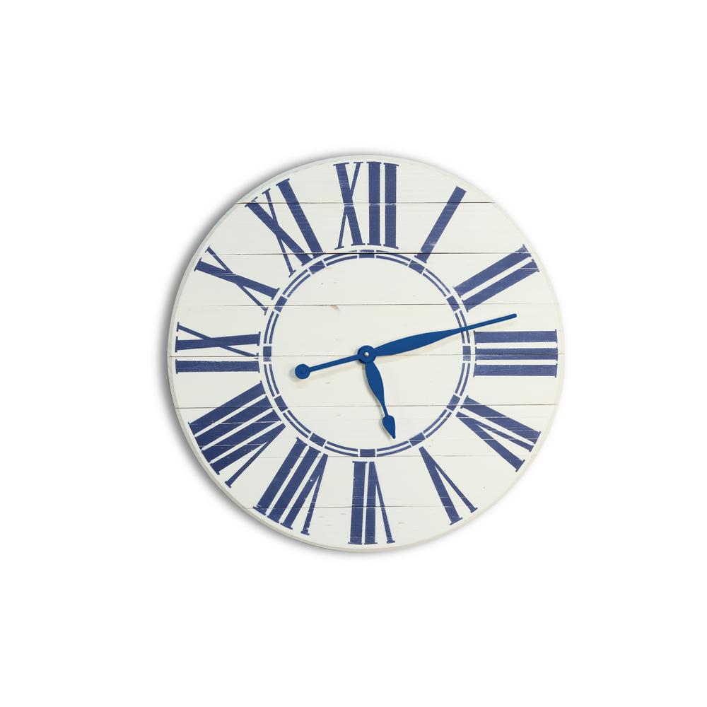 30 in. Navy Nautical Oversized Wall Clock