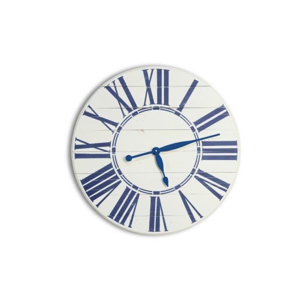 BrandtWorks 30 in. Navy Nautical Oversized Wall Clock 30WHBLUJUP