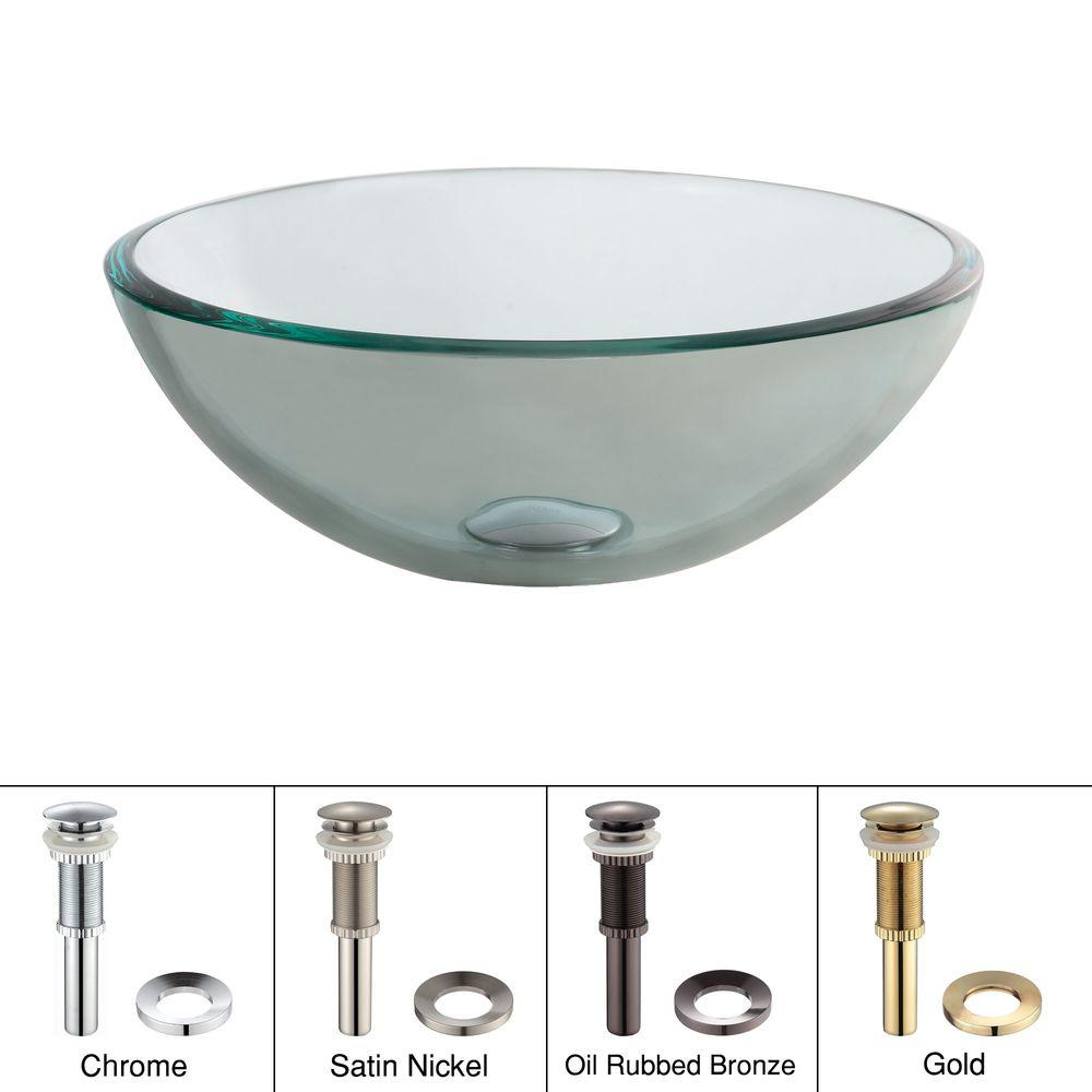14 in. Glass Vessel Sink in Clear with Pop-Up Drain and