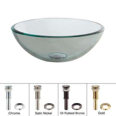 14 in. Glass Vessel Sink in Clear with Pop-Up Drain and Mounting Ring in Satin Nickel