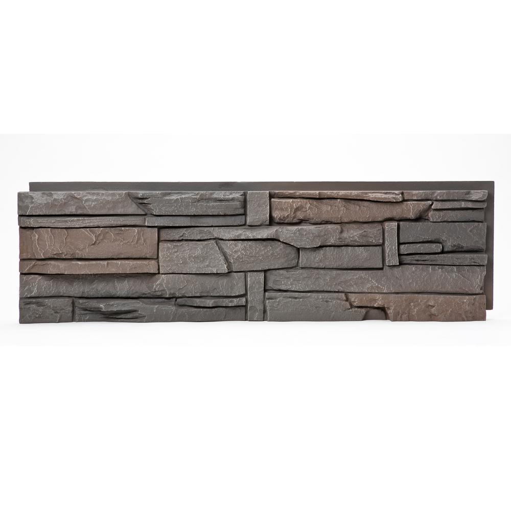 Stacked Stone Coffee 12 in. x 42 in. Faux Stone Siding