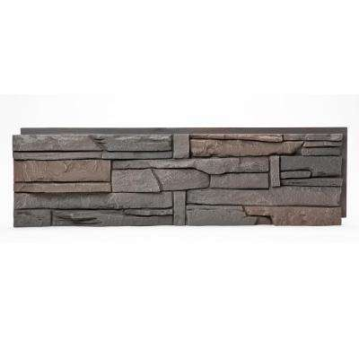 Stacked Stone Coffee 12 in. x 42 in. Faux Stone Siding Half Panel (8-Pack)