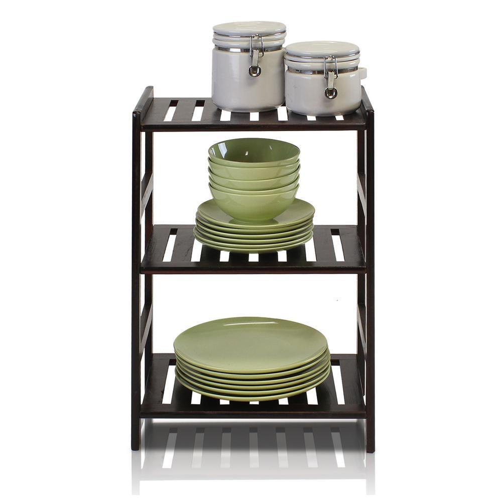 Furinno Pine Home Espresso Color 3-Shelf Open Bookcase FNCJ-33011EX