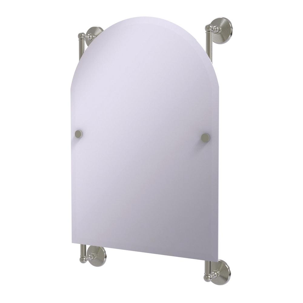 Monte Carlo Arched Top Frameless Rail Mounted Mirror in Satin Nickel