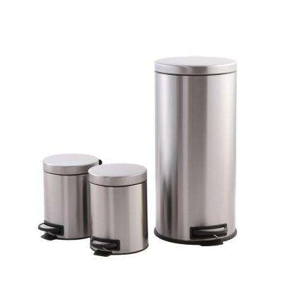 8 Gal. with Double 1.3 Gal. Stainless Steel Trash Can Combo Pack