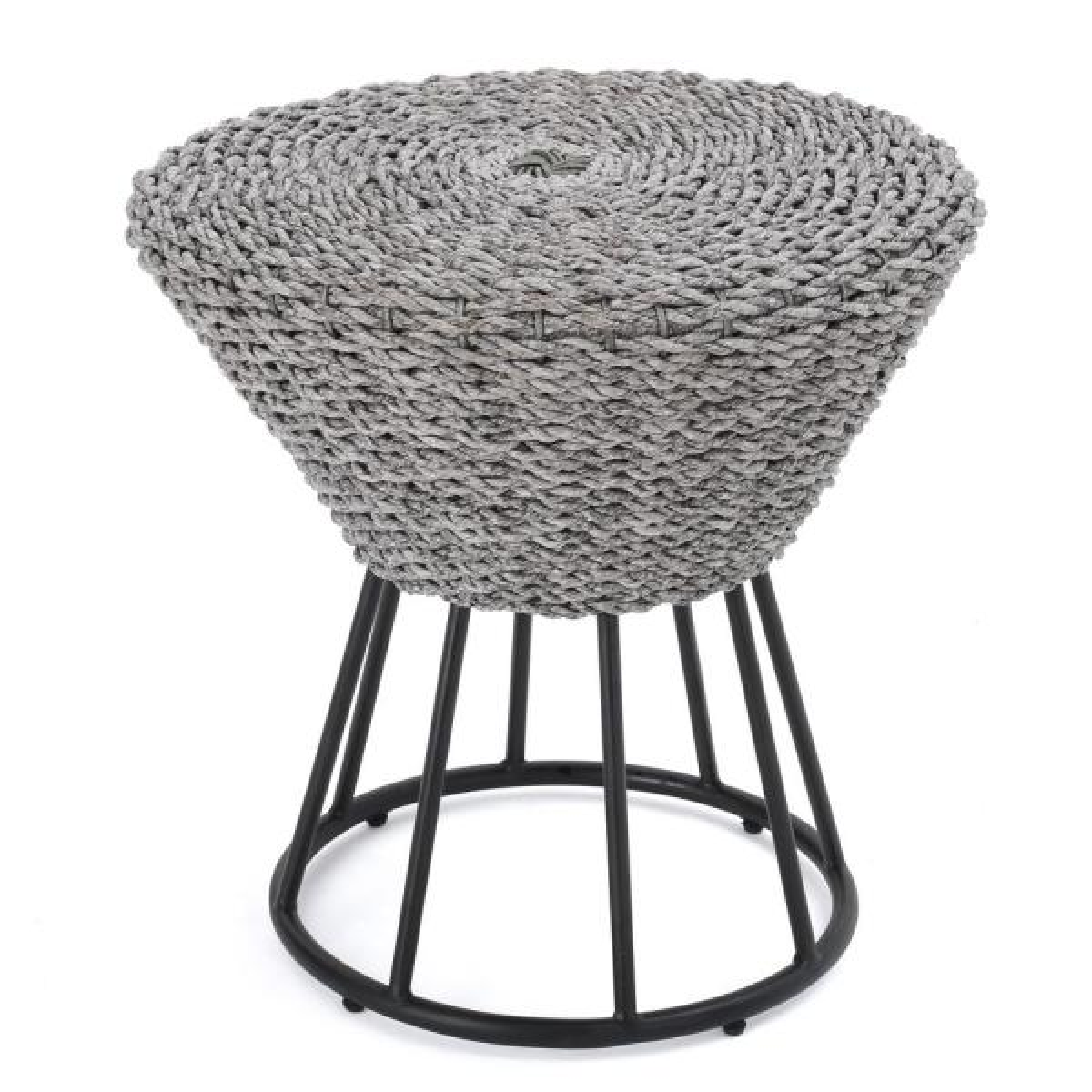 Crete Grey Wicker Outdoor Side Table