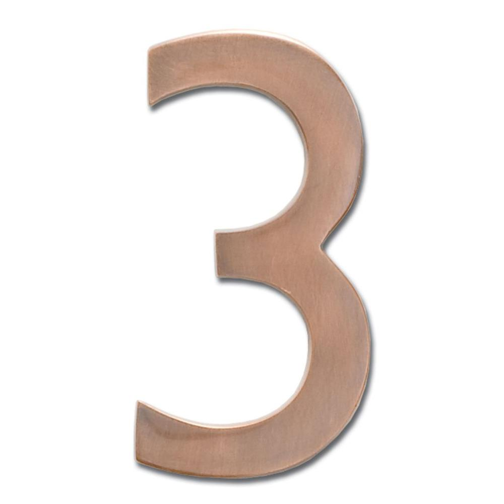 4 in. Antique Copper Floating House Number 3