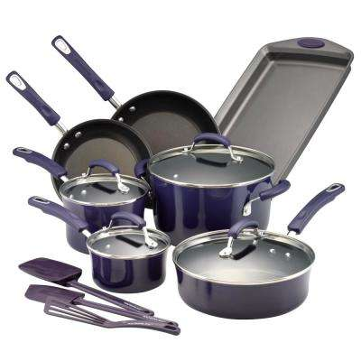 14-Piece Purple Gradient Cookware Set with Lids