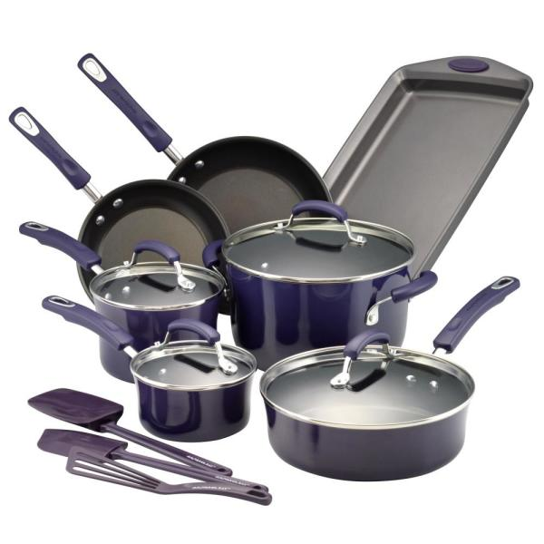 Rachael Ray 14-Piece Purple Gradient Cookware Set with Lids