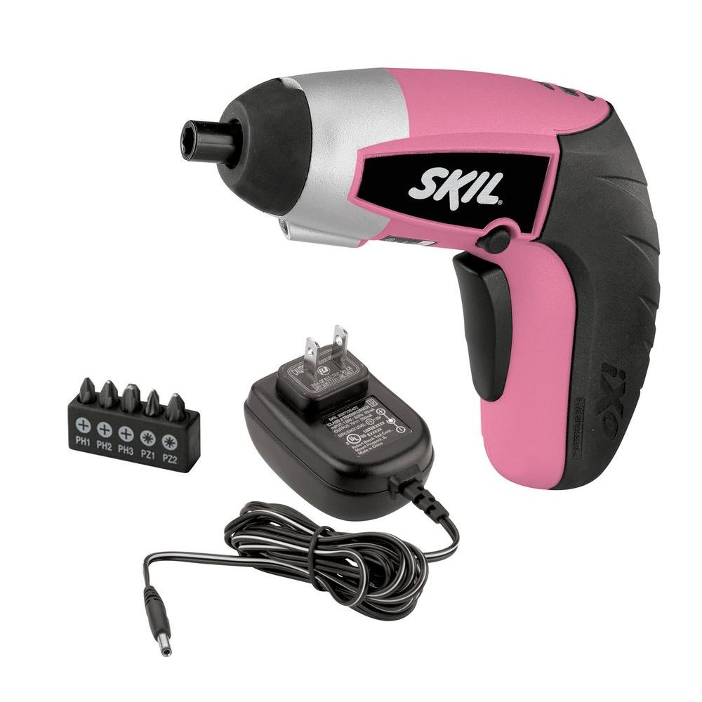 Skil 4 Volt Max Lithium-Ion Cordless Pink IXO Screwdriver Kit with LED Light