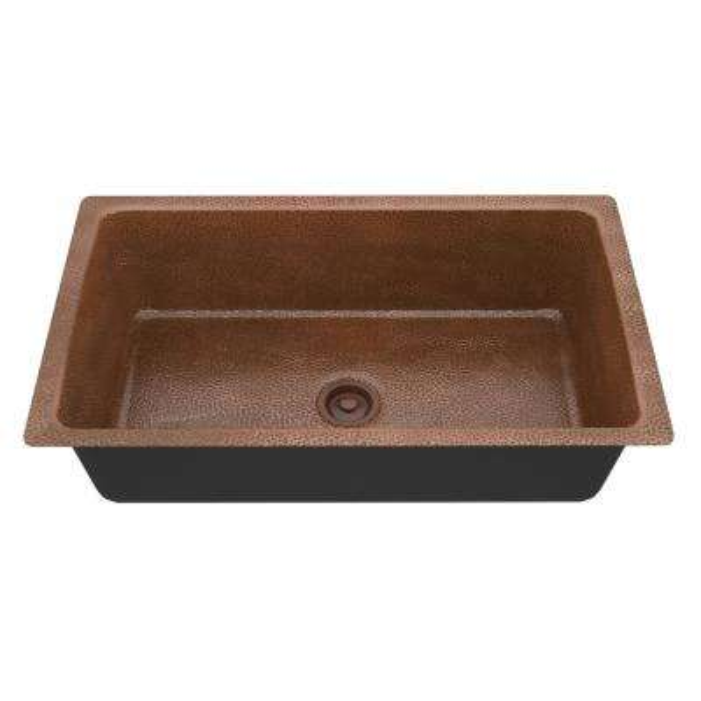 Kaish Undermount Handmade Copper 31 in. Single Bowl Kitchen Sink in Hammered Antique Copper