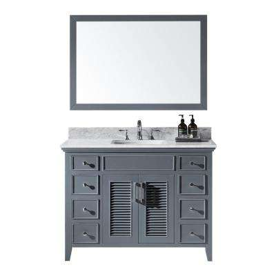 48 in. W x 22 in. D x 34.21 in. Bath Vanity in Cashmere Grey w/ Marble Vanity Top in White w/ White Basin and Mirror