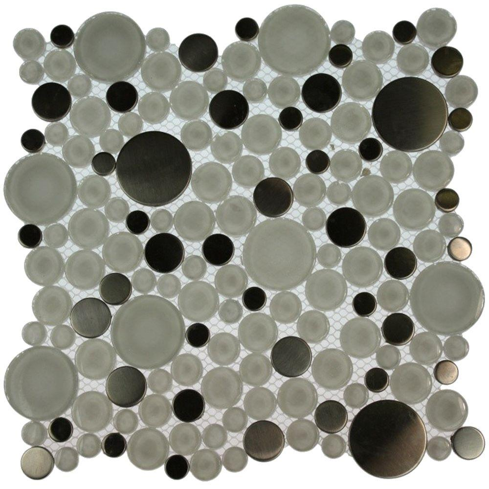 Splashback Tile Contempo Eskimo Pie Circles 12 in. x 12 in. x 8 mm Glass Floor and Wall Tile