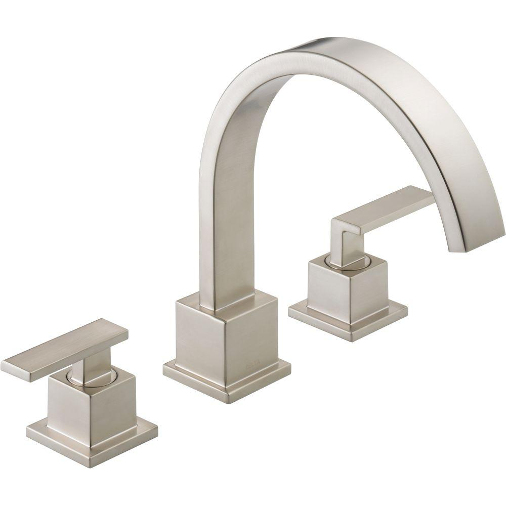 Delta Vero 2-Handle Deck-Mount Roman Tub Faucet Trim Kit Only in Stainless (Valve Not Included)
