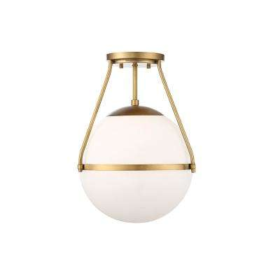 1-Light Natural Brass Semi-Flush Mount with White Opal Glass
