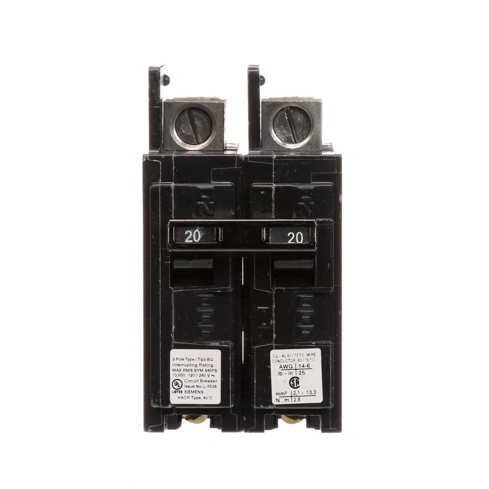 Siemens 20 Amp Double Pole Type Qp Circuit Breaker Q220u The Home Volt 2 Wiring Diagram Bq 10 Ka Lug In Out