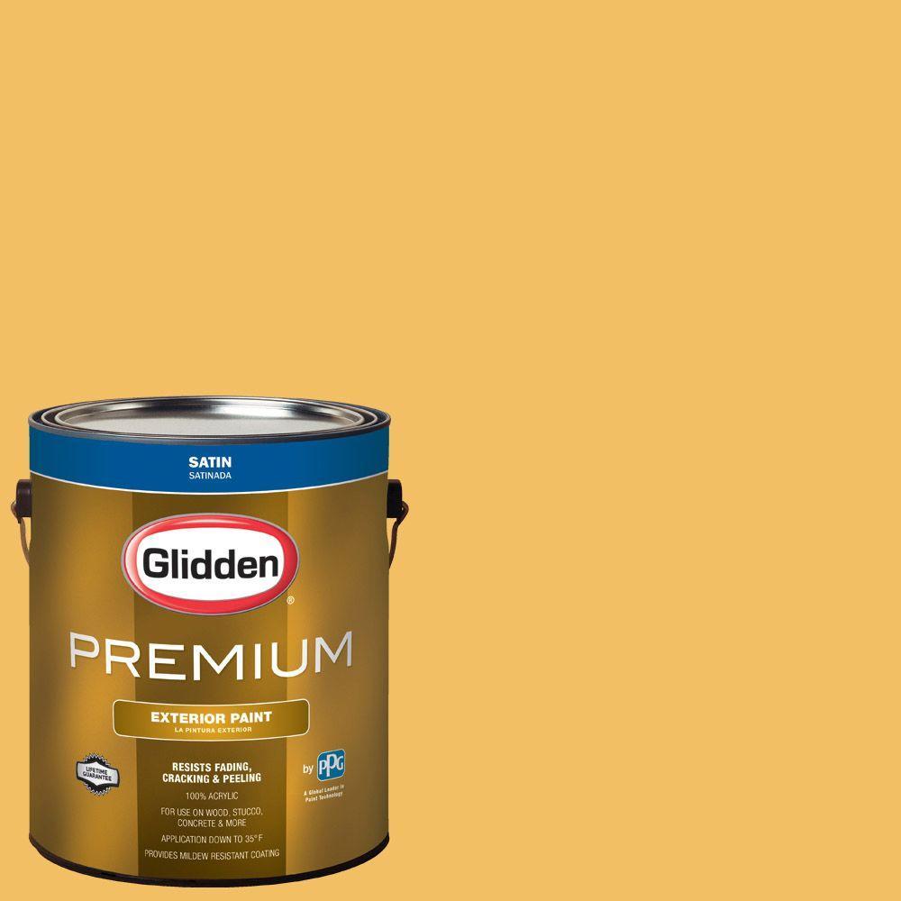 glidden premium 1 gal hdgy14 warm gold satin latex exterior paint