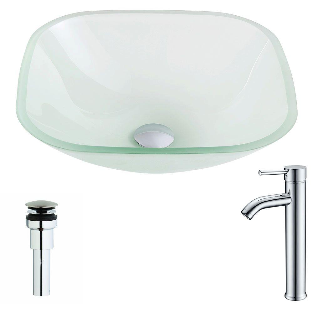 ANZZI Vista Series Deco-Glass Vessel Sink in Lustrous Frosted with Fann Faucet in Chrome, Clear was $223.99 now $179.19 (20.0% off)