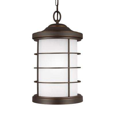 Sauganash Antique Bronze 1-Light Outdoor Hanging Pendant with LED Bulb