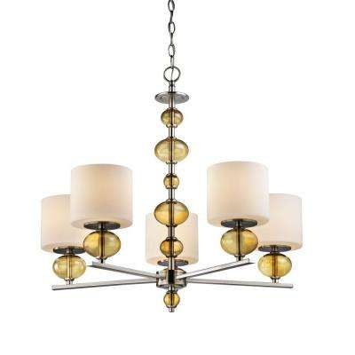 5-Light Satin Nickel Chandelier with Etched Opal Glass and Amber Glass Accents