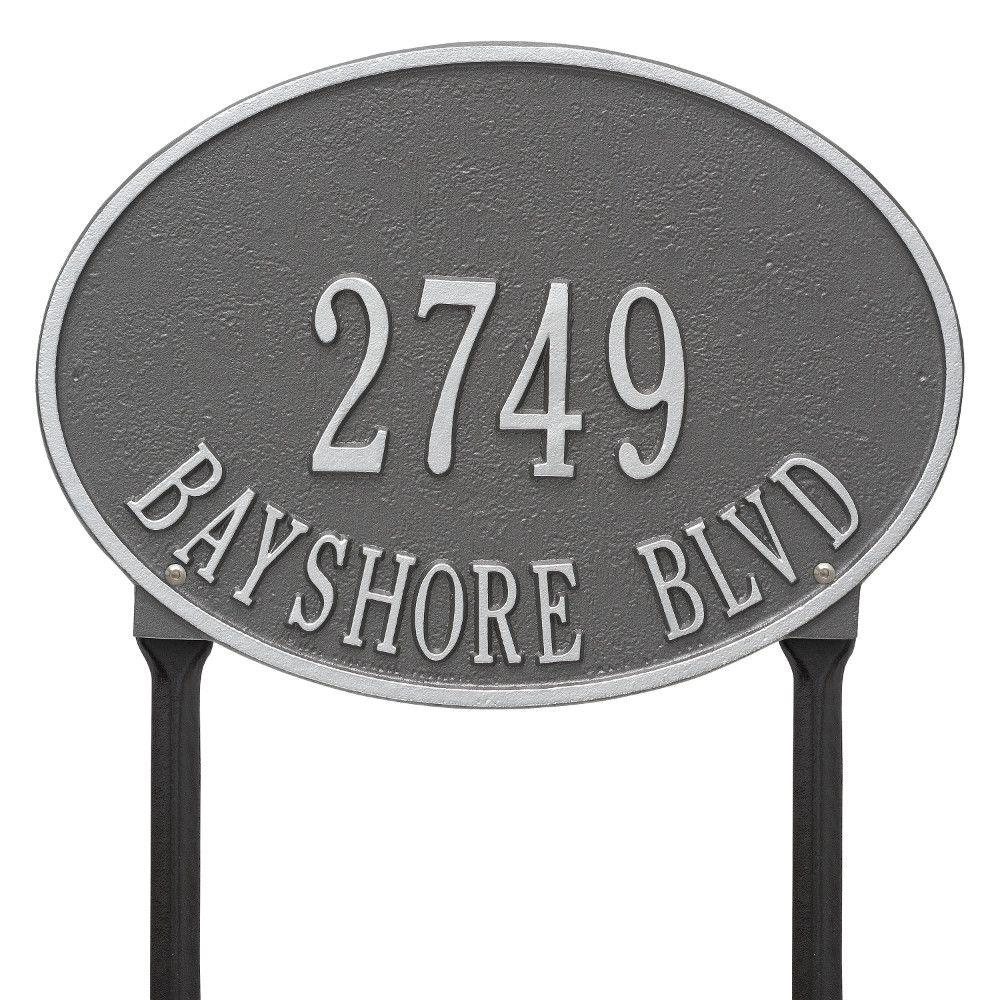 Hawthorne Standard Oval Pewter/Silver Lawn 2-Line Address Plaque