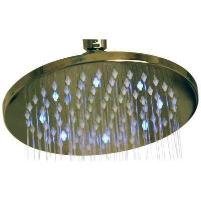 1-Spray 8 in. Filtered Showerhead in Satin Nickel with LED Lights