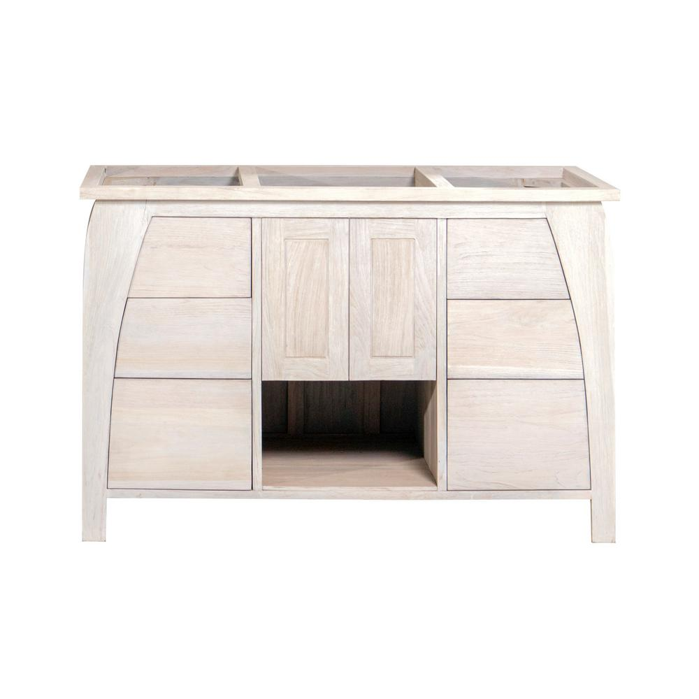 Coastal Vogue Tranquility 48 in. W Teak Vanity Bath Cabinet Only in Driftwood