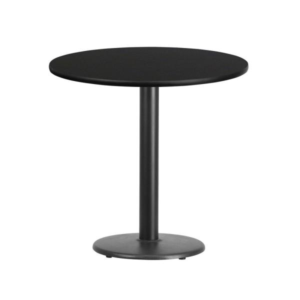 Flash Furniture 36 Round Black Laminate Table Top with 30 x 30 Table Height Base