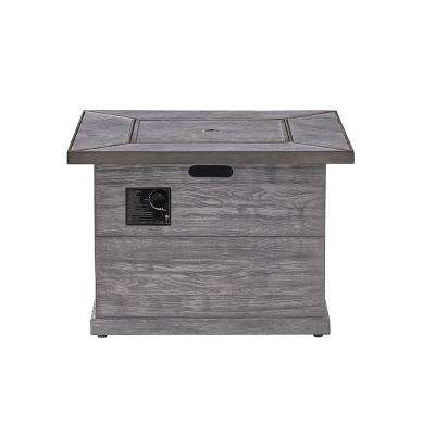 Patterson 34.6 in. x 23.6 in. Square MGO and Liquid Propane Fire Pit in Distressed Grey