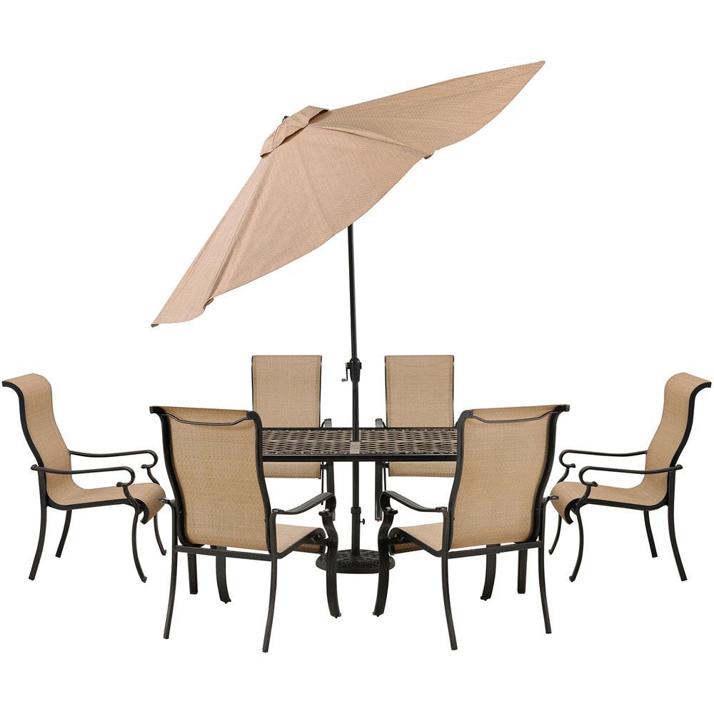 Brigantine 7-Piece Cast Aluminum-Top Rectangular Patio Dining Set with Umbrella and Base