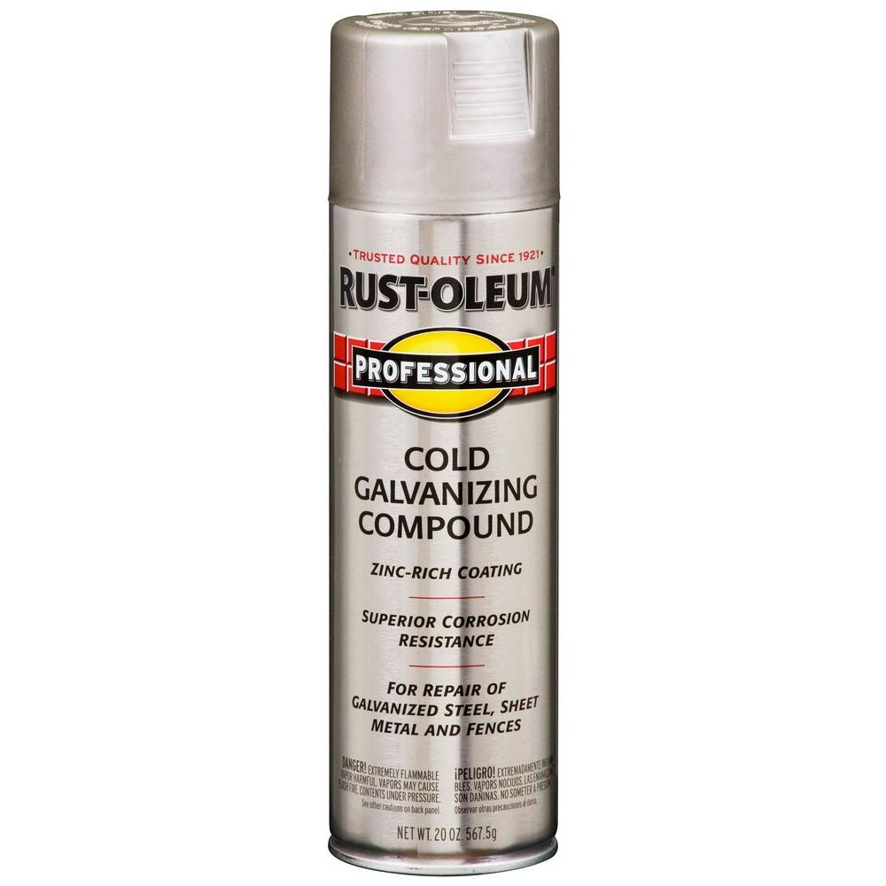 Rust Oleum Professional 20 Oz Flat Gray Cold Galvanizing Compound Spray