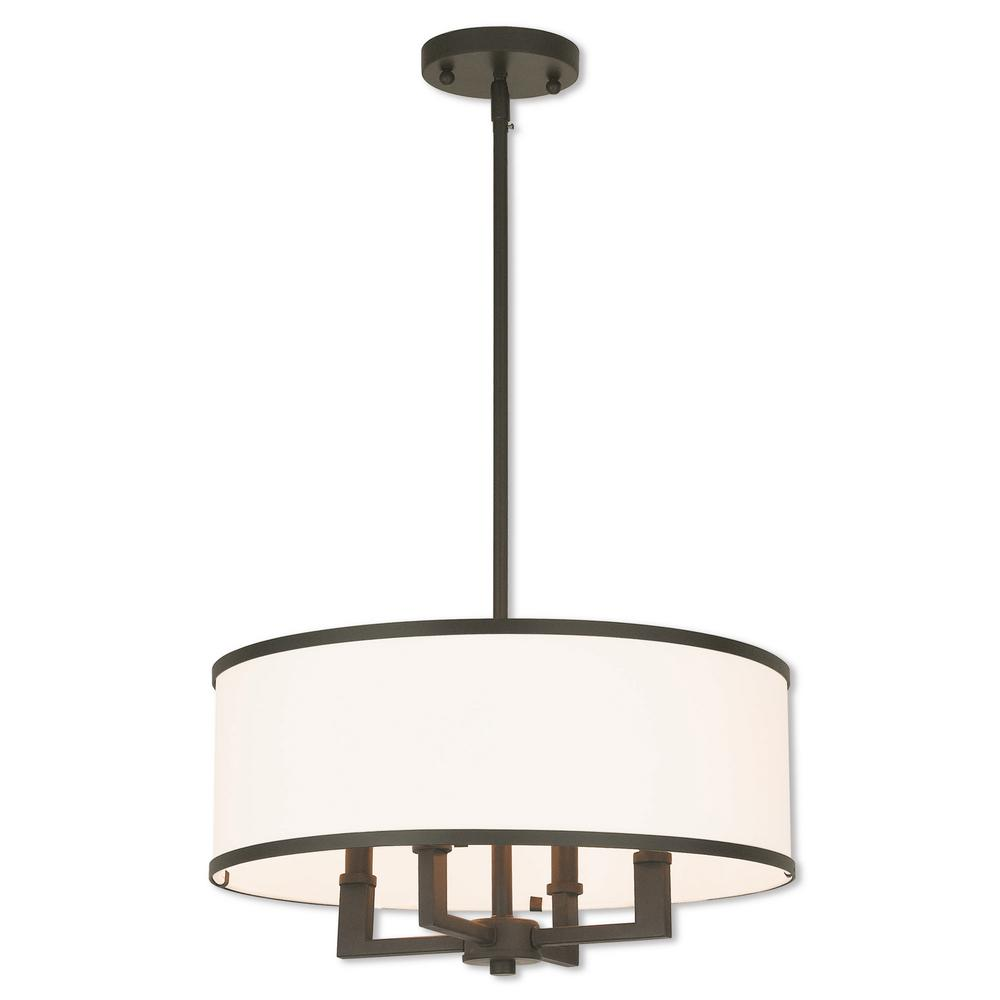 Livex Lighting Park Ridge 4-Light Bronze Pendant Chandelier with Hand Crafted Off-White Fabric Hardback Shade