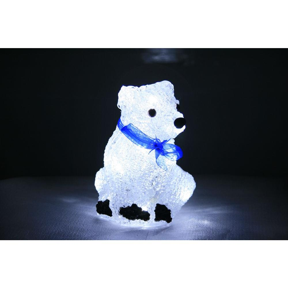 XEPA 8 in. Decorative White LED Polar Bear with Scarf Light