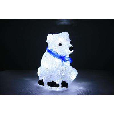 8 in. Decorative White LED Polar Bear with Scarf Light