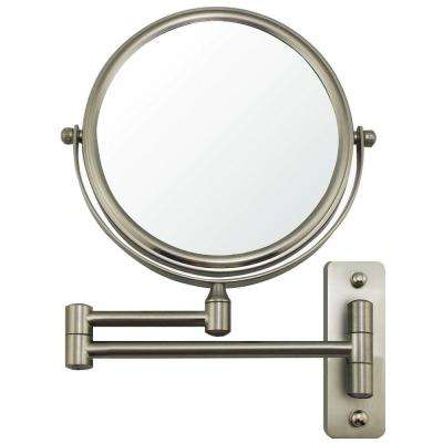 Wall Mount Mirror, 1X and 10X Magnification, 7 Inch, Nickel Brushed (MNLFW70BR1X10X)