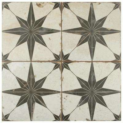 Kings Star Nero Encaustic 17-5/8 in. x 17-5/8 in. Ceramic Floor and Wall Tile (11.1 sq. ft. / case)