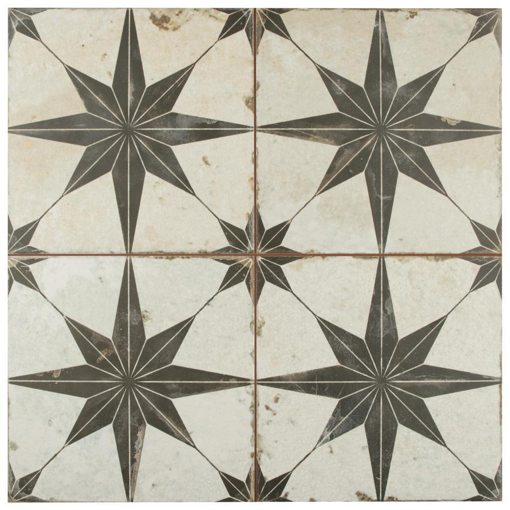 Kings Star Nero Encaustic 17-5/8 in. x 17-5/8 in. Ceramic Floor and Wall Tile (11.1 sq. ft. / case)