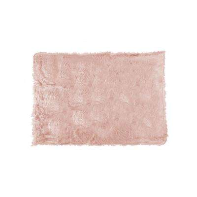 Plano Dusty Rose 50 in. x 70 in. Mongolian Sheepskin Faux Fur Indoor Throw