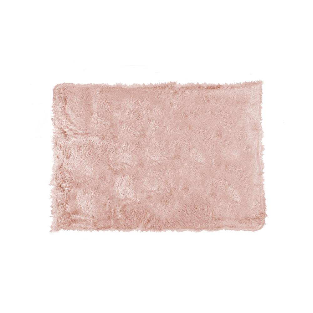 Plano Dusty Rose 50 in. x 70 in. Mongolian Sheepskin Faux