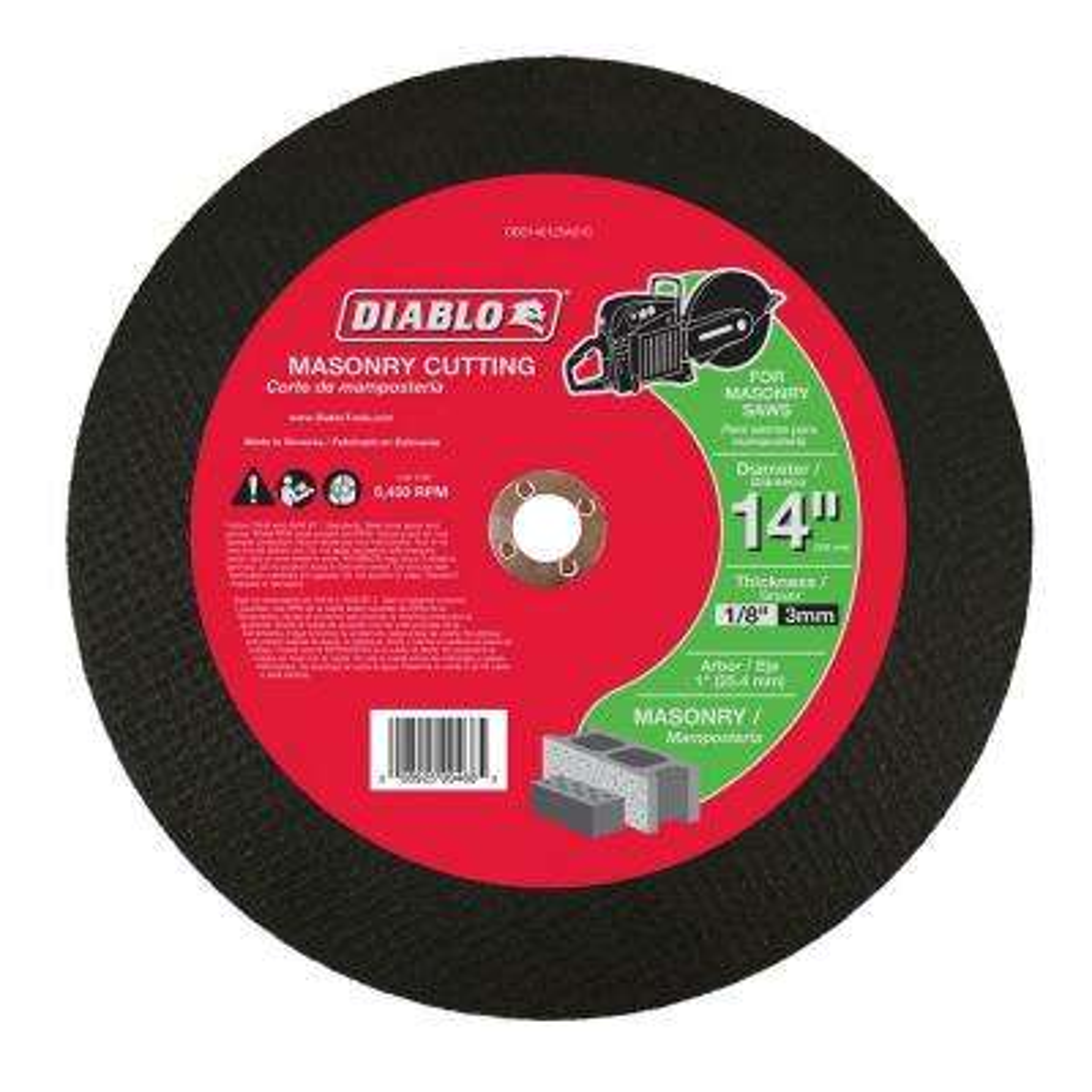 14 in. x 1/8 in. x 1 in. Masonry High Speed Cut-Off Disc