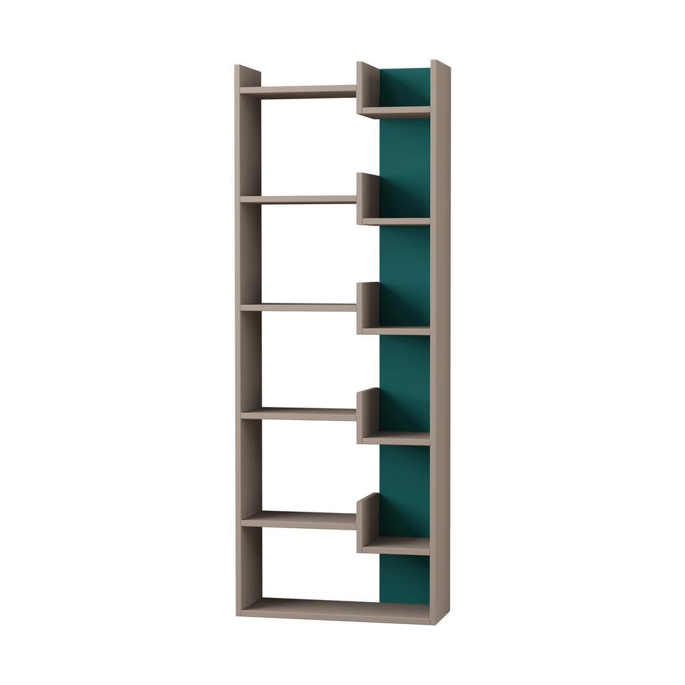 Ada Home Decor Bonaparte Light Mocha and Turquoise Modern Bookcase DCRB2158