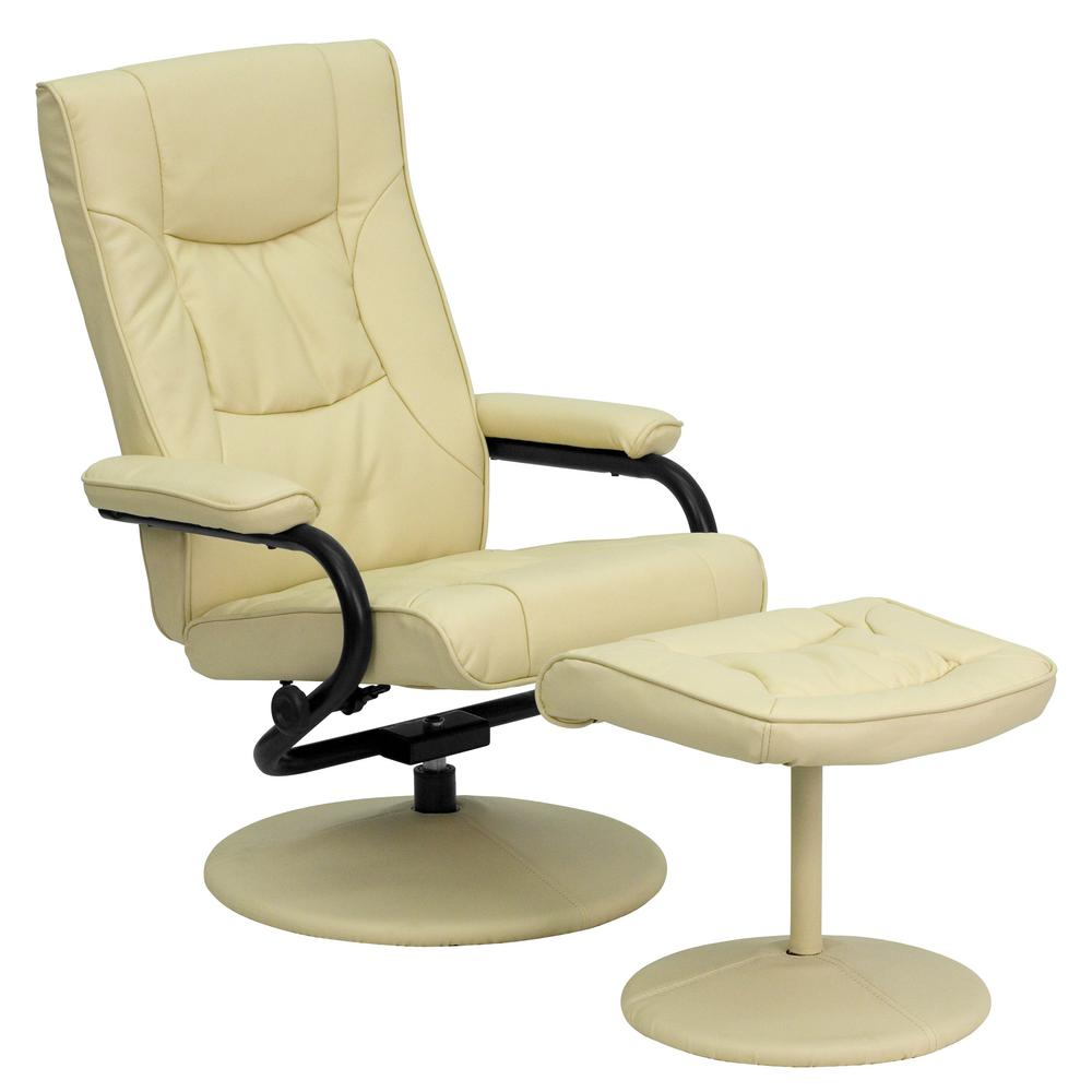 Southern Enterprises Taupe Leather Reclining Chair with Ottoman ...