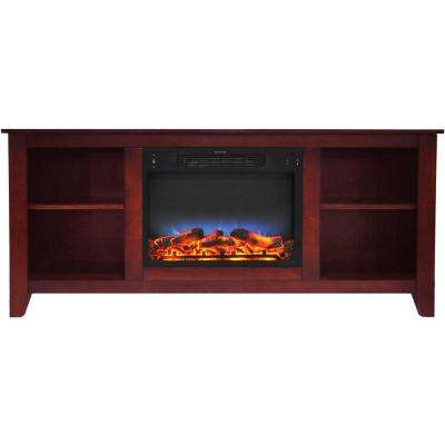 Bel Air 63 in. Electric Fireplace and Entertainment Stand in Cherry with Multi-Color LED Insert