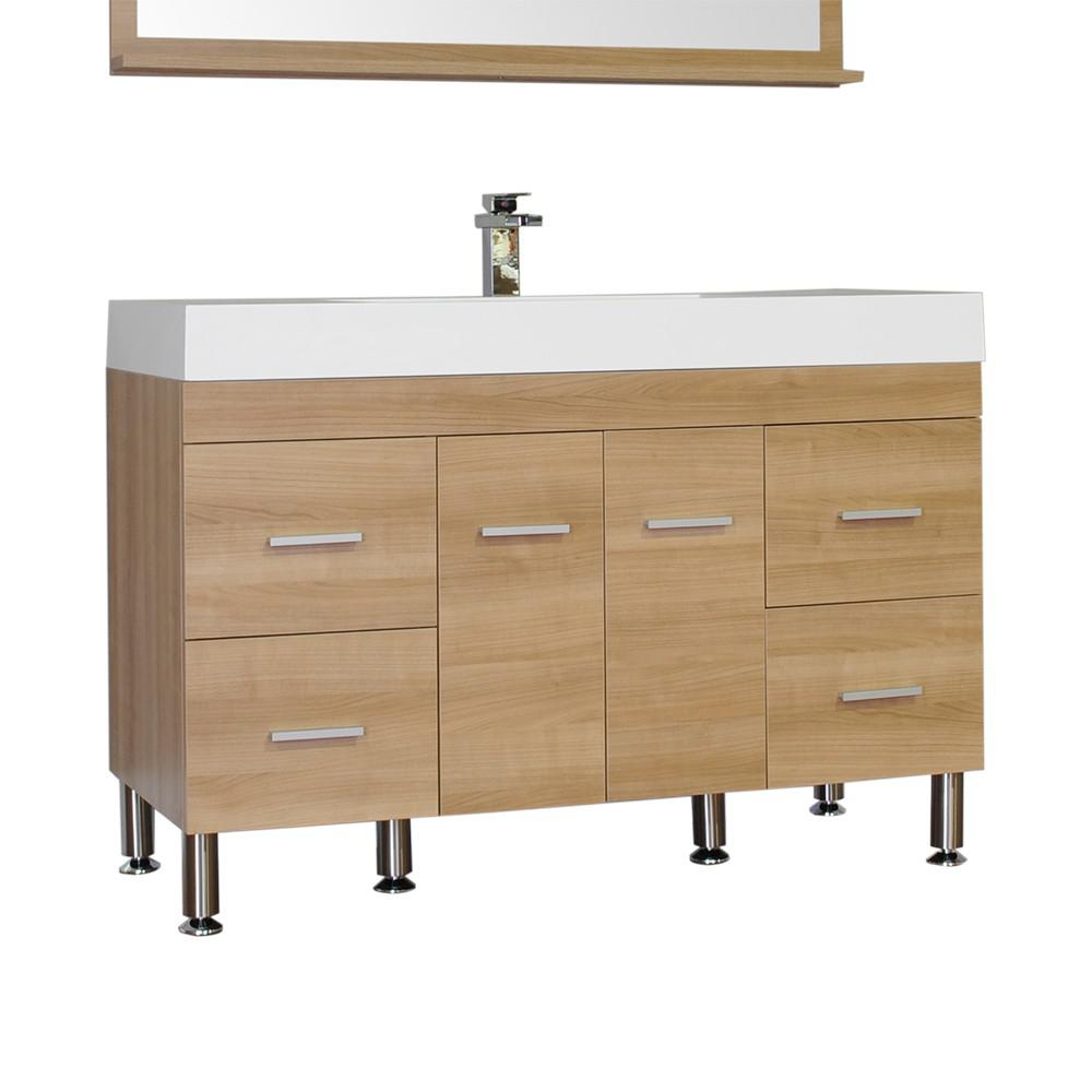 Alya Bath Ripley 47 in. W x 19.5 in. D x 33.12 in. H Vanity in Light Oak with Acrylic Vanity Top in White with White Basin