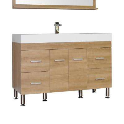 Ripley 47 in. W x 19.5 in. D x 33.12 in. H Vanity in Light Oak with Acrylic Vanity Top in White with White Basin