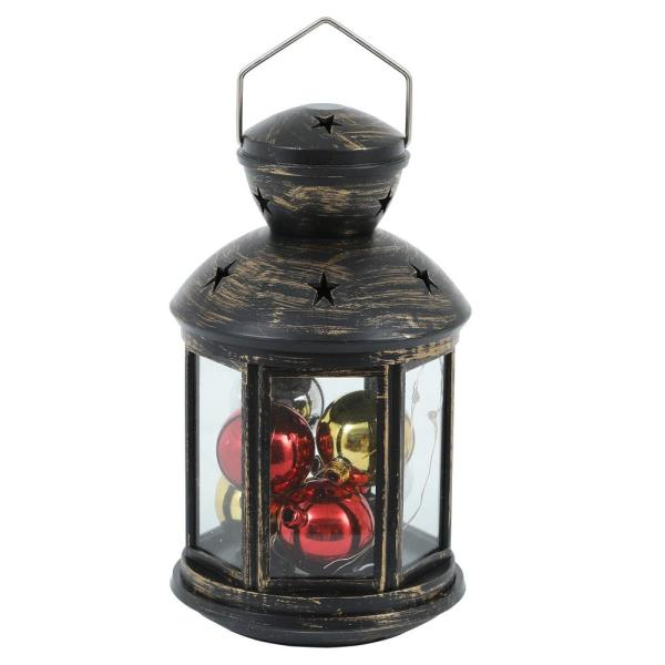 10-Light Red, Green and Blue Square LED Lantern with String Light