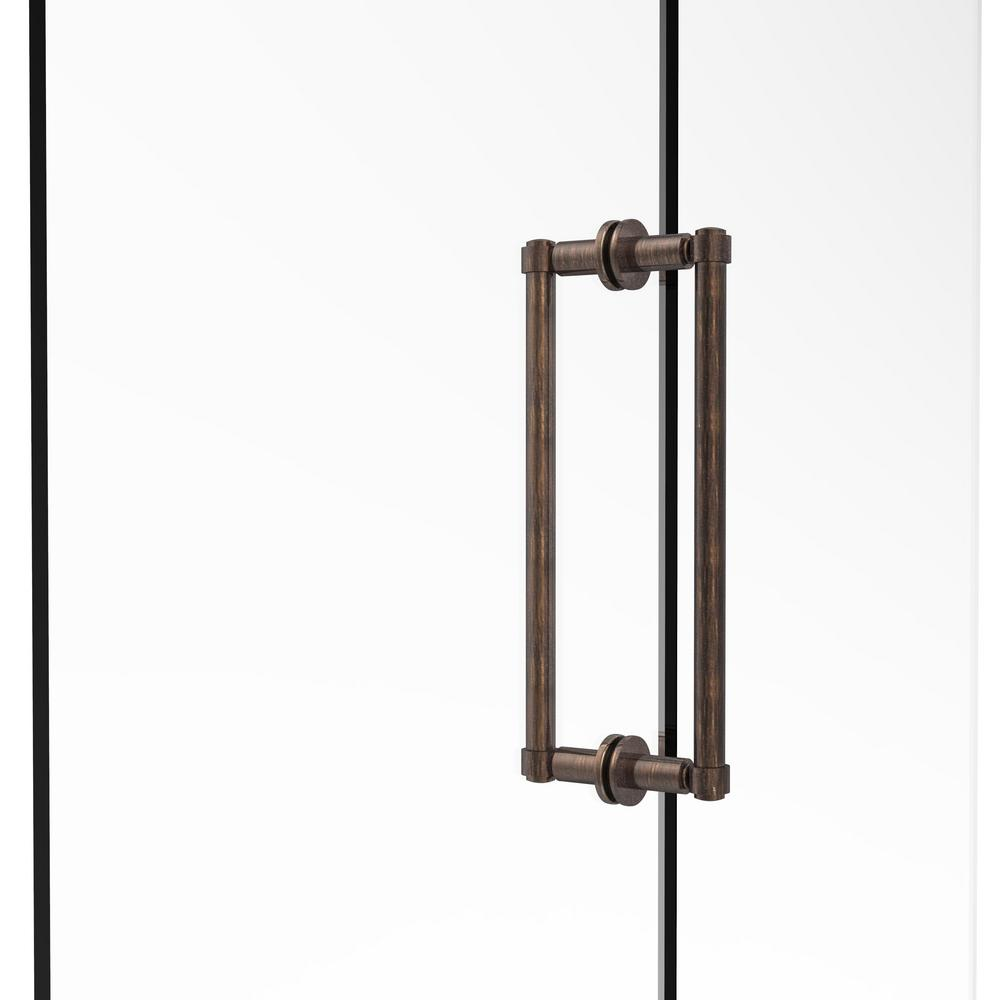 Contemporary 12 in. Back-to-Back Shower Door Pull in Venetian Bronze